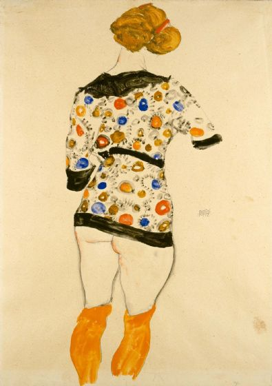 Schiele, Egon: Standing Woman in a Patterned Blouse. Fine Art Print/Poster. Sizes: A4/A3/A2/A1 (003727)